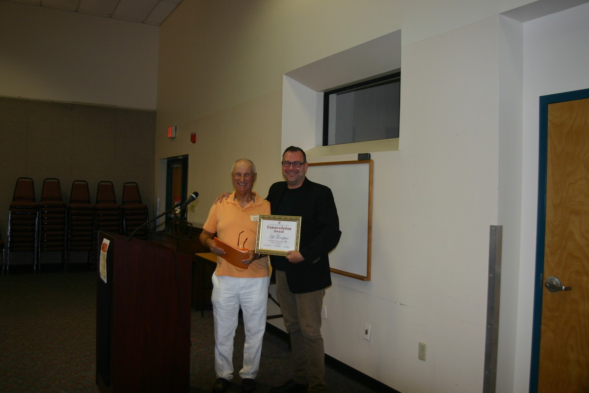 Gene VLahovic and  Library Director Jeff Thompson